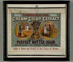 Rare Cloth Window Advertising Sign For Ransom Mfg. Co. Cream Color Extract.
