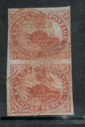 Canada 1 Used Fine Vertical Pair With Red Concentric Cancels With Certificate
