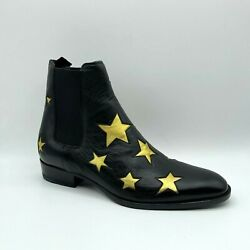 Saint Laurent Wyatt Menand039s Black Leather Gold Star Zip Up Ankle Boot 579404 1087