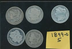 Morgan Silver Dollars - 1896-o - 5 Circulated Coins