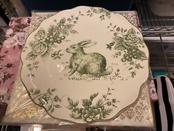"""Maxcera Green And White Toile 13"""" Chop Plate New Easter Bunny Rabbit Vhtf"""