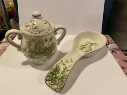Maxcera Green And White Toile Easter Bunny Rabbit Sugar Bowl And Spoon Rest