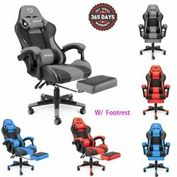 Gaming Office Chair Computer Chairs Pu Leather Seat Recliner Executive Footrest
