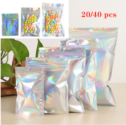 Iridescent Zip lock Bags Pouches Cosmetic Plastic Laser Holographic Makeup Bags $7.99