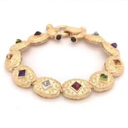 Multi-color Gemstones Victorian Style Bracelet Solid 14k Yellow Gold Size 7