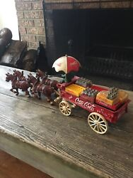 Vintage Cast Iron Coca Cola Delivery Wagon And Accessories