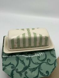 Portfolio By Pfaltzgraff Stoneware Naturewood Covered Butter Dish With Birdhouse