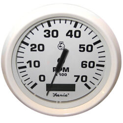 Faria Dress White 4 Tachometer W/hour Meter - 7,000 Rpm Gas Outboard 33140 New