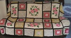 Giant Vintage And039grannyand039 Afghan Crochet Blanket 8and039 X 8and039 Aprx W/ Rose Detail