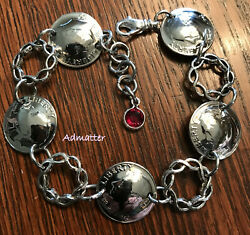 1953 Sterling Silver Dime Coin Bracelet Birthday Gift Pick Your Birthstone Charm