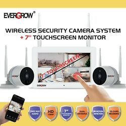 1080p Wireless Home Security Camera System With 7 Inch Touchscreen Monitor Sd
