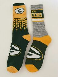 Green Bay Packers Adult Socks-2 Pair Set- Large Brand New Free Shipping G7