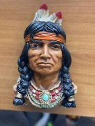 Vintage Bookend Bust Indian Chief Universal Statuary Corp Chicago 1966 320 Rare