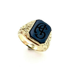 Seal Ring Men's Ring 585 Gold - Size 62 - Weight 15,8 Gram - Initials A S