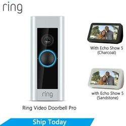 Ring Video Doorbell Pro With Ring Chime Pro, Echo Show 5 Sandstone / Charcoal