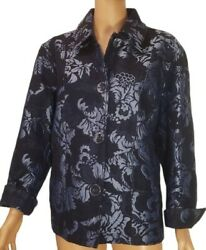 Chico's Blue Floral Jacquard Tapestry Jacket Women's Size 3