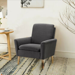 Arm Chair Accent Single Sofa Linen Fabric Upholstered Living Room Comfy Chair