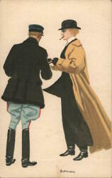 Bianchi Art Deco Two Men Wearing Hats And Coats,handing Something To Each Other