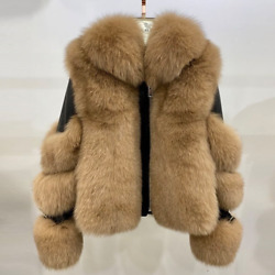 Real Fox Fur Coat Withgenuine Sheep Leather Natural Whole Lapel Collar Fur Coats