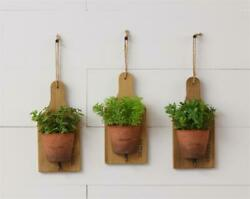 New French Country Farmhouse Rustic 3 Green Plant Herb Pot Wall Hanging Hooks