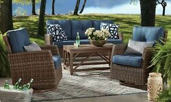 Outdoor Furniture Seating Set 2 Swivel Glider Chairs 3 Seat Sofa Coffee Table
