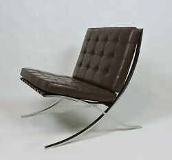 1960s Mies Van Der Rohe Bacelona Stainless Steel And Leather Chair For Knoll