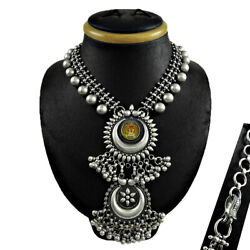 Jewelry Silver Oxidized Antique Look Glass Painting Ganesha Necklace B99