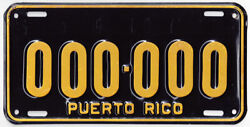 1959 To 1966 Puerto Rico Sample License Plate--000andmiddot000