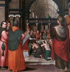 Oil Painting On Canvassaint Eustace Is Baptized Attributed To Pieter @n14764