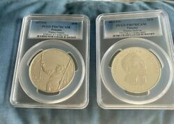 Panama 2 Two Large Silver Coins 1974 And 1977 3.85 Oz.pcgs Graded Proof 67 Dcam