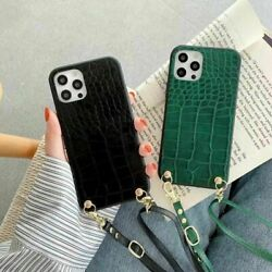 Classic Luxury Crocodile Pattern Crossbody For iPhone Samsung Case Leather Cover $8.35