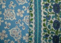 VINTAGE FABRIC LOT 50S BLUE 2 YDS