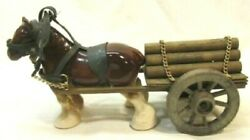 Vintage Clydesdale Draft Horse Ceramic Figurine + Wooden Wagon W/logs Unmarked