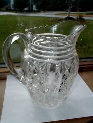 Eapg Pressed Glass Duncan And Miller Clover Water Pitcher - Rare 1904