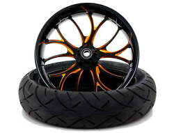 Electron Black Orange 18 X 5.5 Fat Front Wheel And 180 Tire 00-20 Harley Touring