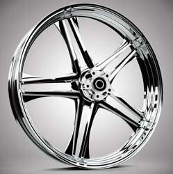 """Discharge Chrome 21x 3.5"""" Front And Rear Wheels - 2000-20 Harley Touring Bagger"""