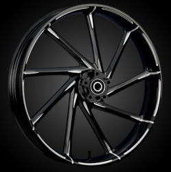 """21 X 3.5"""" Front Kinetic Black Cut Front Wheel Rotors Tire - Harley Touring"""