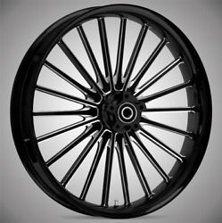 """21 X 3.5"""" Front Pulse Black Cut Front Wheel Rotors Tire - Harley Touring Bagger"""