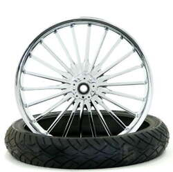 Pulse Chrome 21 X 3.5 Front Wheel And Tire 2000-2020 Harley Touring Softail