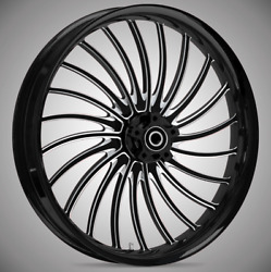 """21 X 3.5"""" Front Volt Black Cut Front Wheel Rotors Tire - 2000-up Harley Touring"""