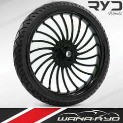 Volt Black 23 X 3.75 Front Wheel And Tire Package - 2000-2020 Harley Touring
