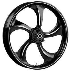 """21 X 3.5"""" Front Rollin Black Cut Front Wheel Rotors Tire 2000-up Harley Touring"""