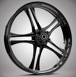 """23 X 3.75"""" Discharge Black Front And Rear Wheels - 2000-up Harley Touring"""