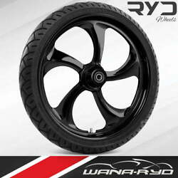 """Rollin Blackline 21 X 5.5"""" Fat Front Wheel And 180 Tire Package 08-20 Touring"""