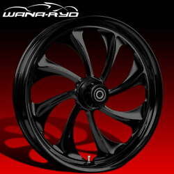 Ryd Wheels Twisted Blackline 21 Fat Front And Rear Wheels Only 00-07 Bagger