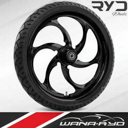 """Reactor Blackline 21 X 5.5"""" Fat Front Wheel And 180 Tire Package 08-20 Touring"""