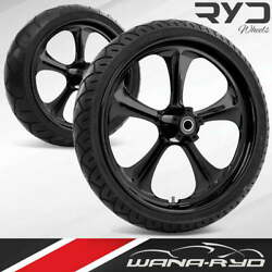 Adrenaline Blackline 21 Fat Front And Rear Wheels Tires Package 09-19 Bagger
