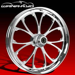 Ryd Wheels Arc Chrome 18 Fat Front Wheel Tire Package Dual Rotors 08-19 Bagger