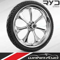 Ryd Wheels Atomic Chrome 18 Fat Front Wheel Tire Package 13 Rotor 00-07 Bagger