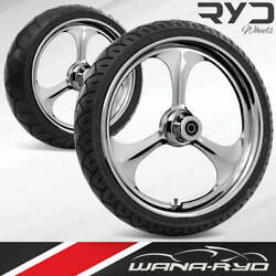 Amp Chrome 21 Fat Front And Rear Wheels Tires Package Dual Rotors 00-07 Bagger